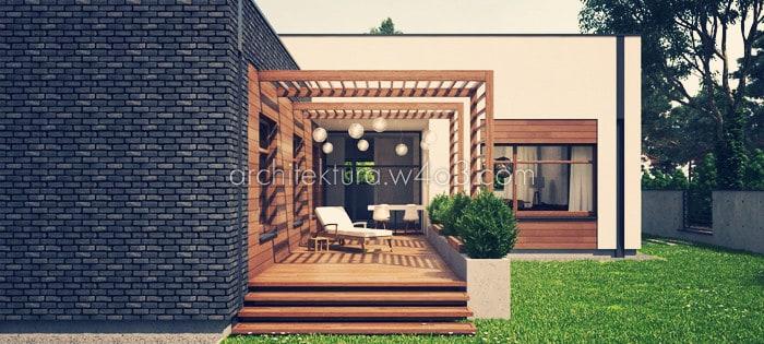 dom jednorodzinny widok na patio