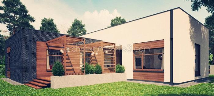 dom jednorodzinny widok od ogrodu