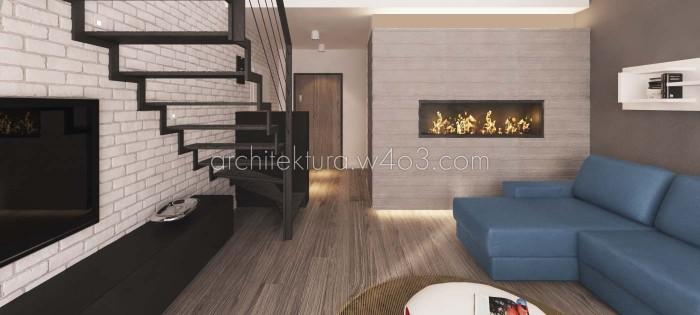 wnętrza loft lubin wizualizacja parter