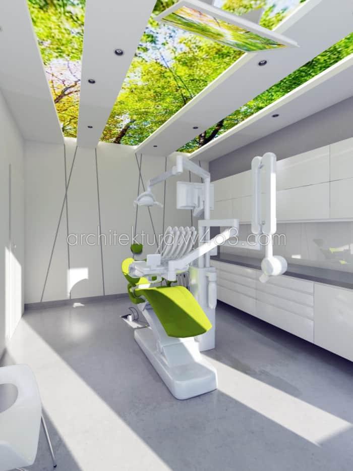 gabinet dentystyczny drzewa na suficie