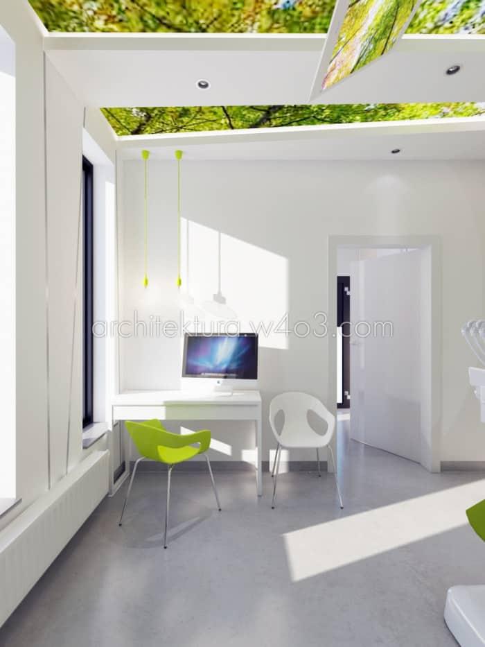 gabinet dentystyczny gabinet z zielonym sufitem