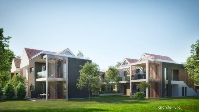 Osiedle domów koncepcja w zabudowie bliźniaczej